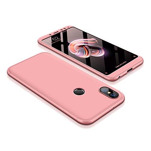 Bigcousin Xiaomi Redmi Note 5 Pro Hülle, mit [1 x Panzerglas Schutzfolie] 3 in 1 Ultra Dünner PC Harte Schutzhülle 360 Grad Hülle Fullbody Case Cover für Xiaomi Redmi Note 5 Pro - Rose Gold