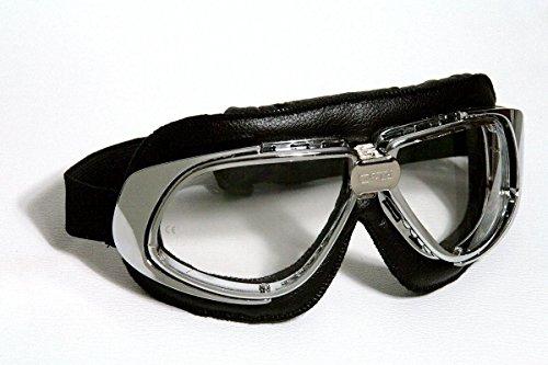Qubeat Motorradbrille Classic, schwarz mit klaren Gläsern