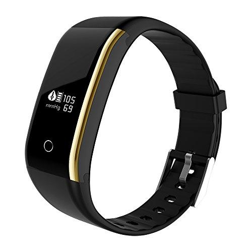 XINGDDOZ Fitness Tracker mit Herzfrequenz Blutdruck,Wasserdicht IP67 Fitness Armband Pulsuhren Aktivitätstracker Bluetooth Smart Armband Schrittzähler für iOS und Android Handys (Schwarz)