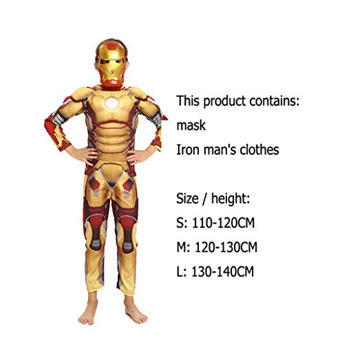 WLDSH Kindergeschenke COSPALY Superheld Cosplay Iron Man Muscle Styling Film Charakter Drucke Avengers Party Party Kleid (Farbe : A, größe : (Beste Film Charakter Halloween Kostüme)