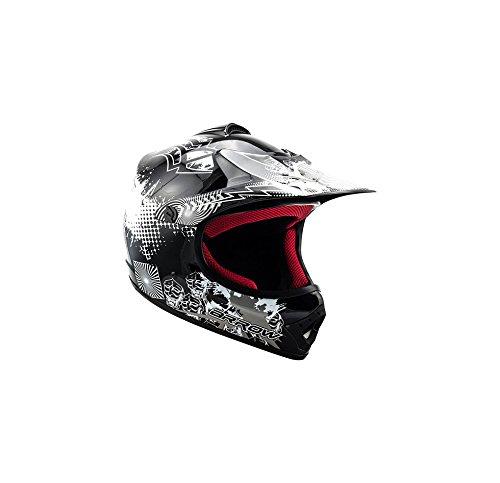 "ARMOR · AKC-49 ""Black"" (Schwarz) · Kinder-Cross Helm · Moto-Cross Kinder Motorrad Off-Road Enduro Sport · DOT certified · Click-n-Secure™ Clip · Tragetasche · XS (51-52cm)"