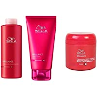 Wella Brilliance Set- Brilliance Shampoo Grossolana 500 ml + Brilliance acond grossolana 200 ml + Brilliance Mask grossa 150 ml