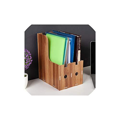 2 Gitter A4 Abnehmbare Holz Office Desktop Datei-Buch, Zeitschrift Ständer Rack-Halter-Tabellen-Dokumentenablage-Kasten-Organisator Bookends, Brown