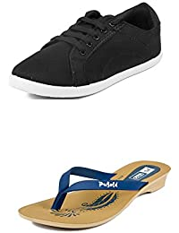 Asian Shoes LR-33 Black Canvas Womens Shoes And PL-01 Blue Slipper Combo