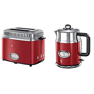 Russell-Hobbs-21680-56-Toaster-Retro-Ribbon-Red-Retro-Countdown-Anzeige-Schnell-Toast-Technologie-1300-Watt-rot-Hobbs-21670-70-Wasserkocher-Retro-Ribbon-Red-2400-Watt-17l