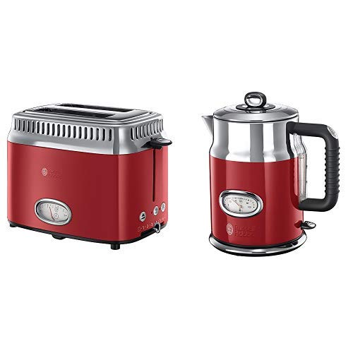 Russell Hobbs 21680-56 Toaster Retro Ribbon Red, Retro Countdown-Anzeige, Schnell-Toast-Technologie,...