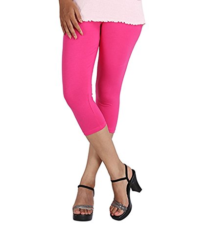 LGRL Women\'s Slim Fit Capri (LEGG_FUSHSIA_SHORT_1_Pink_Freesize)