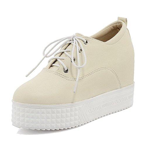 AllhqFashion Damen Weiches Material Rund Zehe Hoher Absatz Schnüren Pumps Schuhe Aprikosen Farbe