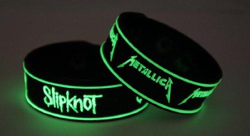 SLIPKNOT metallica 2pcs NEU. Glow In The Dark Wristband 2X 16G84