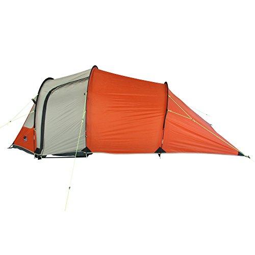 10T Mandiga 3 Orange - Tunnelzelt für 3 Personen, Campingzelt mit großer Schlafkabine, wasserdichtes Familienzelt mit 5000mm, Zelt mit 2 Eingängen und 2 Fenstern, Festivalzelt mit Dauerbelüftung, 3 Mann Zelt mit Tragetasche, Zeltheringe und Zeltgestänge - 10