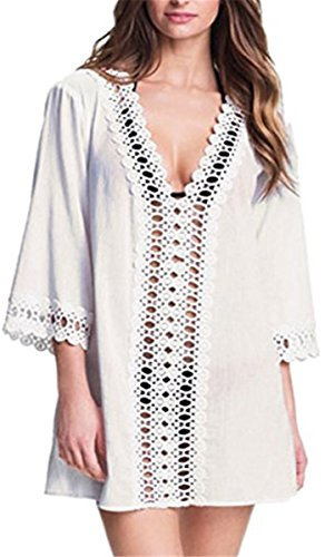 STJD Damen Bikini Cover Up StrandKleid Sommerkleid Blumen Lace Weiß