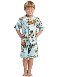 Hecho en Hawaii Luau Aloha Camisa y Pantalones Cortos Chico Juego de Cabaña Casas Palmas Flores