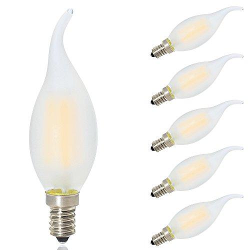 5 paquetes GLW 4W LED Bombilla de Filamento,3000K L/ámpara de Candela Blanca C/álida,E14 40W Reemplazo Incandescente,Punta Doblada de Forma Llama,Bombilla de Ara/ña Antigua 400lm,240V