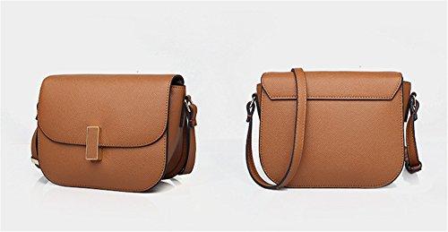 Xinmaoyuan Damen Handtaschen Leder Damen Paket Casual Schulter Messenger kleine Quadratische Tasche, Khaki Karamell
