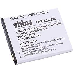 vhbw Li-ION Batterie 2000mAh (3.8V) pour téléphone Portable Smartphone Acer Liquid Z520, Z520 Dual Sim comme BAT-A12, KT.00104.002.