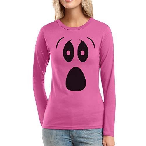 Grusel Kostüm Halloween Kostüme Damen Shirt Ghost Face Frauen Langarm-T-Shirt Large Rosa
