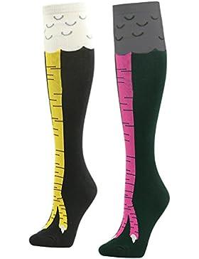 Gmark Damen Kniestrümpfe lustige kikeriki Hühnerfüße oberkante Socken lange Baumwolle Strümpfe 1-7 Paar