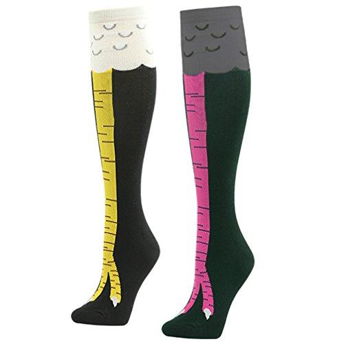 Gmark Kniestrümpfe Hühnerfüße Socken Strumpf Cosplay witzige Socken für Damen Mädchen 2 Paar (Huhn In Kostümen)