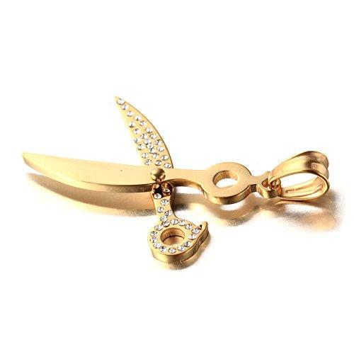 DISANZHE Gioielli Collana con Pendente da Uomo Donna Acciaio Inossidabile Ciondolo Vintage Forbici,Oro - Oro Forbici