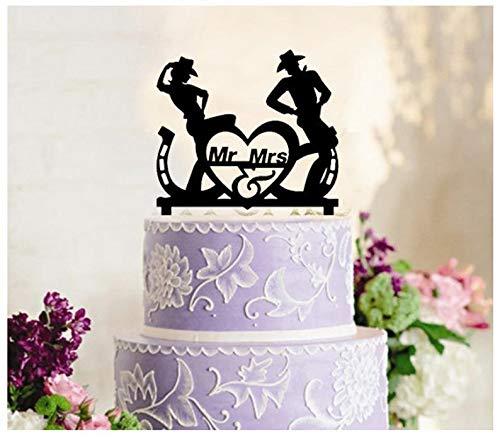 Tortenaufsatz, Cupcake-Topper, Jahrestag, Geburtstag, Party, Cowboy und Cowgirl tanzende Country-Western-Silhouette ()
