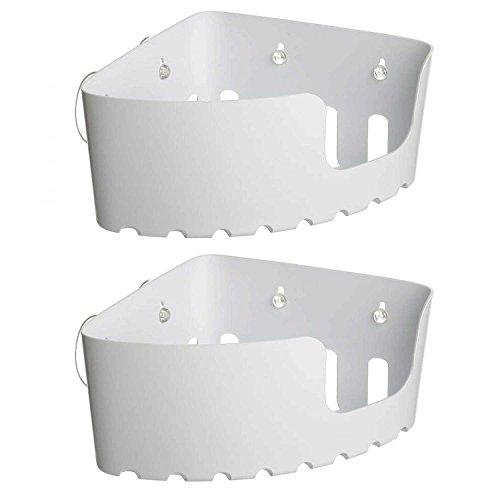 2er Set Eck-Duschregal Kunstoff weiß von SANIXA / Eckregal Dusche Duschablage Ecke ohne Bohren mit Saugnäpfen / Eck-Duschkorb Wannenablage / Stabile Ausführung (Dusche Fliesen Wand Regal)