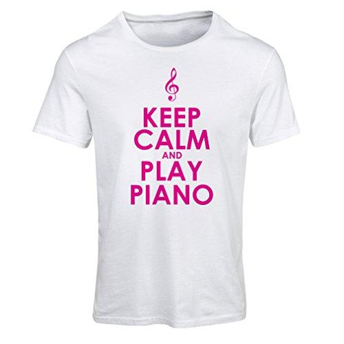 Frauen T-Shirt Klavier - Musiker zitiert (XX-Large Weiß Magenta)