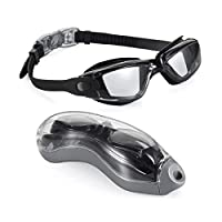 M&J Swim Goggles, Swimming Goggles No Leaking Anti Fog UV Protection Triathlon Swim Goggles with Free Protection Case for Adult Men Women Youth Kids Child (Black)