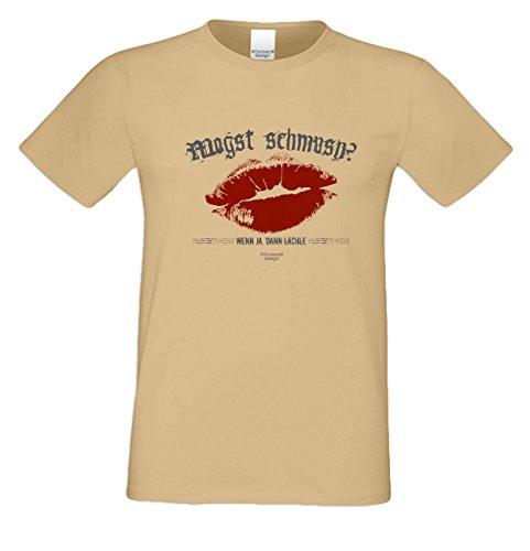 Witziges-Herren-Sprüche-Fun-T-Shirt cooles Volksfest Oktoberfest Party Outfit Motiv Mogst schmusn auch in Übergrößen Farbe: sand Sand