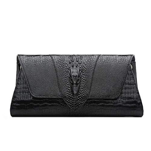 Haiwan Mode Croco Klatsch Tasche Damen Elegant Clutch Bag Kette Echt Leder Umhängetasche Klein Schlicht Schultertasche Wasserfest Messenger Bag -