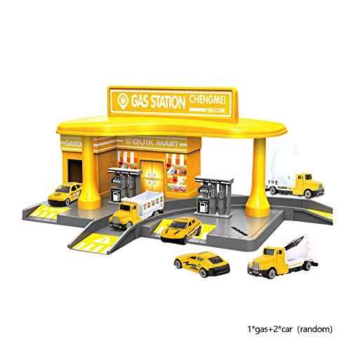 H-sunshy - Service Station Auto-Szene-Modellfahrzeug Spielzeug, inklusive Legierung Car Engineering Tankstelle Szene-Modell - Spielzeug für Junge Kinder.