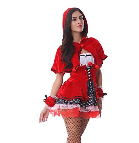 Saoye Fashion Tuta Donna Elegante Cosplay Cappuccetto Rosso Costume Halloween per Adulti Fancy Dress Party Dancer Party da Sera Abito Costume