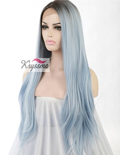 K'ryssma Women's Straight Blue Ombre Hair Dark Roots Long Synthetic Lace Front Wigs Half Hand Tied Heat Safe 24 inches (Antworten, Bilder Halloween 100)