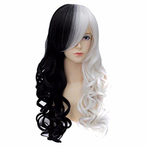 eiten Schwarze Weiße Cosplay Partei Langen Lockigen Gewelltes Haar Volle Perücke (Arbeit-kostüme Für Halloween)