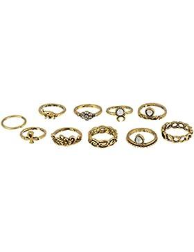 MJARTORIA Damen Ring Set Silber Farbe Boho Vintage mit Schwarz Weiß CZ Kristall Freundschaftsringe