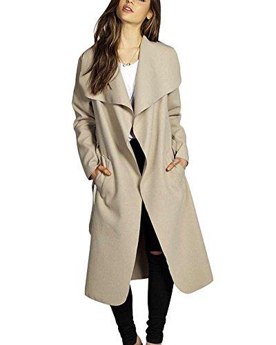 Damen Trenchcoat Mantel Knielang Wintermantel Parka Mit Gürtel Khaki XL