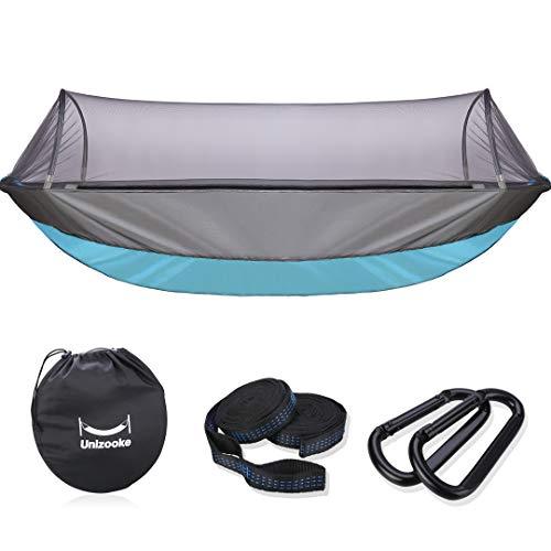 Unizooke Hängematte Camping, Hängematte mit Reißverschluss, Moskitonetz Hammock für 2 Personen, Nylon Atmungsaktiv, extra-Breit 280 cm Länge für Garten Outdoor