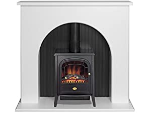 Adam Kirkham Stove Suite in Pure White with Dimplex Club Electric Stove in Black, 48 Inch