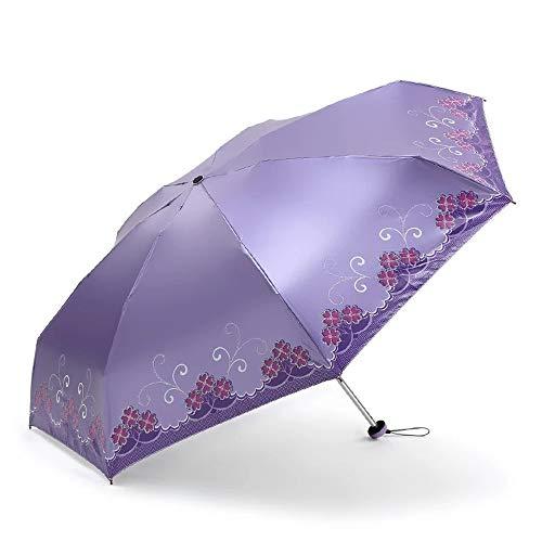 Folding Umbrella Ultra-light Flowered Regenschirm Fashion Damen 7 Kastagnetten UV Cut Regen Schutzmaßnahmen Regen und Regen Kombinierter Einsatz Regenschirm Leicht ( Color : Lila , Size : Kostenlos )