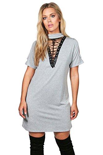 Damen Grau Plus Lindsy Bodyconkleid Mit Schnürung Und Kropfband Grau