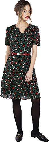 Voodoo Vixen Damen Kleid Melissa Vintage Leopard Print Dress Grün L