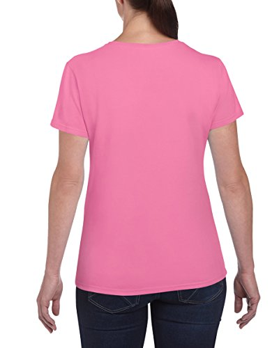 3Stück Gildan Damen Schwere Baumwolle uni T-Shirt Mehrfarbig - Safety Pink