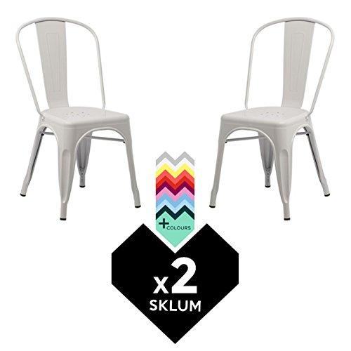 SKLUM Silla TOLIX (Pack 2) - Silla Industrial Metálica Blanco - (Elige Color)