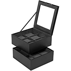 Wolf Stackable Watch Trays 6 plus 6 stores up to 12 watches in Black
