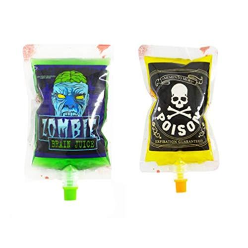 Toyvina halloween blutbeutel 10 stücke 250 ml getränkebehälter schädel zombie trinken beutel wiederverwendbare saftbeutel für halloween thema parteien begünstigt party requisiten