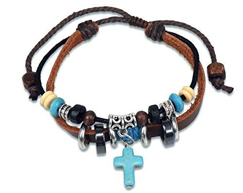 Lederarmband mit Kreuz und Perlen silber/türkis