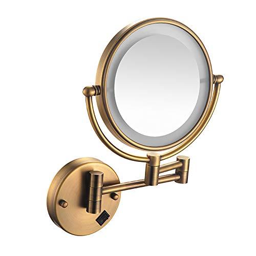 PENNY73 Wandkosmetikspiegel LED Beleuchtet Beidseitig 360 ° Drehbar Ausziehbar Kosmetikspiegel Vergrößerung für Badezimmer,Bronze,plug5x -