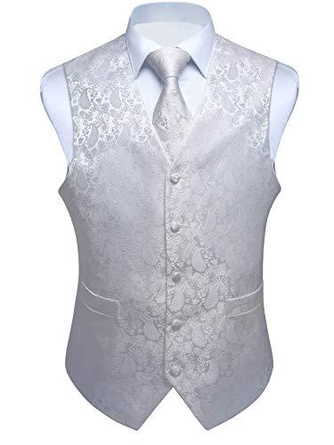 ENLISION Herren Paisley Weste Krawatte Einstecktuch Taschentuch Jacquard Weste Anzug Set, Weiß, Gr.- L(Chest size 46\')
