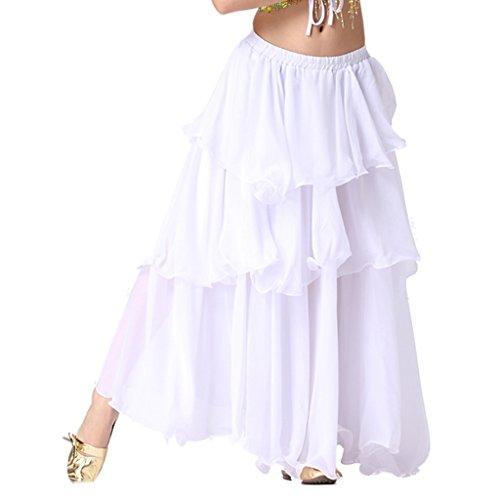 Kostüme Hot Dance (Best Dance Damen Lady Bauchtanz Kostüm Hot Spirale 3Schicht Kreis Röcke Gr. M, Weiß -)