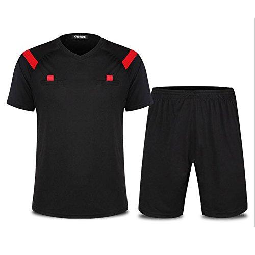 Zicac Herren Fußball-Schiedsrichter Anzug Hemd Shorts Trikot Set Kurzarm Outfit Rugby Hockey Uniform Sport Anzug Kleidung Atmungsaktiv Schnell Rocknend