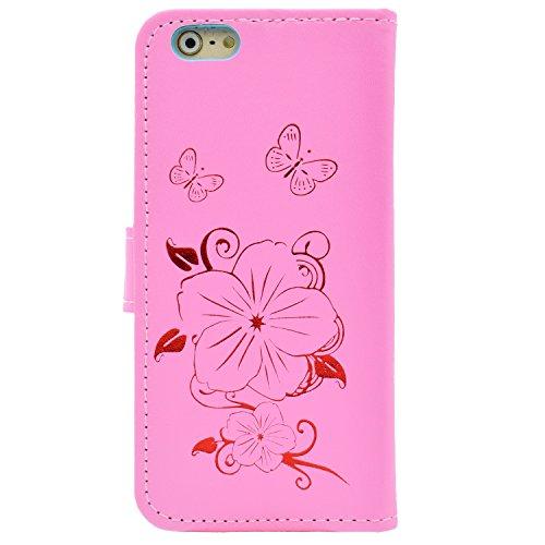 iPhone 6S Plus Hülle,iPhone 6 Plus Lederhülle,Apple iPhone 6S Plus/6 Plus Leder Wallet Tasche Brieftasche Schutzhülle,Sunroyal Schön Elegant Retro Golden Mädchen Blumen Vogel Katze Malerei Schmetterli Schmetterling 4
